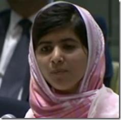 Malala addressing the UN